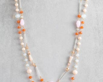 Khiara Beaded Necklace | Orange