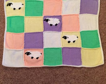 Hand Knitted Harlequin Sheep Baby Blanket