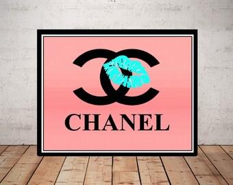 Chanel, Print or Canvas, Chanel Logo Art, Chanel Yellow Decor, Red Lips Poster, Fun Coco Chanel Pop Art Picture, Chanel Lipstick Print,Ombre