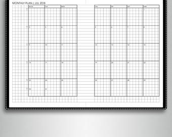 MONTHLY calendar planner 2018, #M2 (a6 inserts printable, a6 tn inserts, a6 travelers notebook inserts printable, a6 planner inserts)