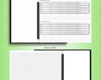 Foldout YEARLY calendar 2018, #F-Y (wide inserts, wide travelers notebook printable, wide tn inserts, cahier printable inserts)