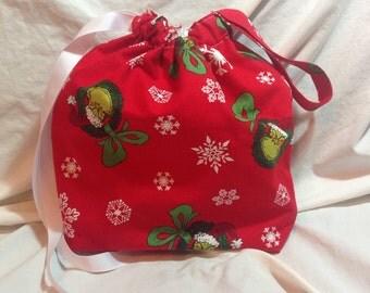 Grinch Christmas Drawstring Bag