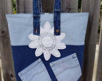 Denim shopper, Up-cycled, Boho, Tote Bag,Eco-friendly grocery bag, Handmade, Market bag, Beach bag