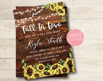 Fall in love sunflower Invitations, Bridal Shower Invitation, Sunflower Invitations, Wedding Invitations