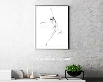 10R. Abstract Art Dancing Figure drawing Gesture movement Pencil sketch, Print from My Original Artwork by Ann Adams Single print sale