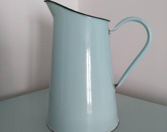 Celadon blue enamel pitcher french vintage. Vintage blue enamel french pitcher
