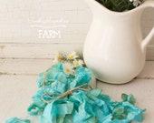 Seam Binding Crinkle Ribbon Vintage Aged Deep Aqua / Turqoise  - Sewing- Crafts - Gift Wrap - Trim - 5 yards