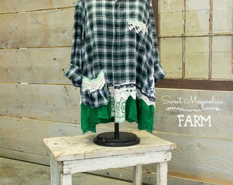 Flannel Shirt - Tunic  - Boho Clothing - Upcycled - Womens XL A- Line Style - Jacket , Kelly Green Navy Plaid Floral Vintage Truck