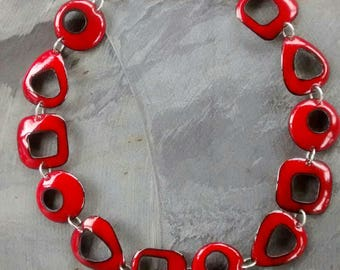 Bright Red Enameled Disk Necklace