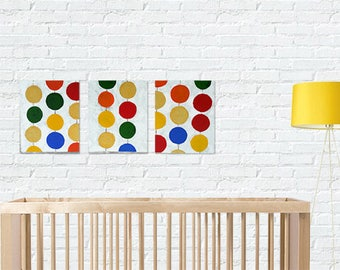 Set of 3 acrylic paintings. Circles. Acrylic on canvas. Handmade painting. Toddler bedroom.