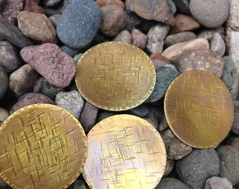 """Textured hammered Brass 1"""" discs with heat patina  - jewelry components"""