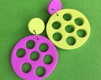 Bubblegum - Pistachio/ green and pink/ polymer clay/ polka dot/ dangle earrings
