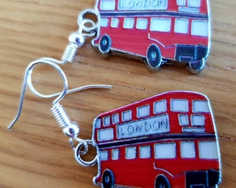 Earrings -London Red Bus Enamel Silver Plated Hook Earrings. Fab souvenir, wear at Royal wedding or because u love them and Harry Potter!