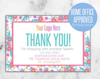 Colorful Custom Thank You Card // Home Office Approved HOA Fonts and Colors