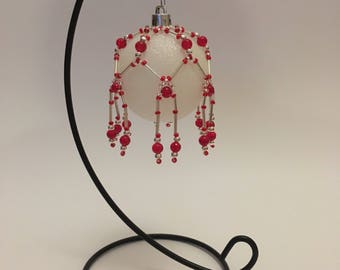 Christmas Tree Decoration / Hand Beaded Red and Silver Christmas Ornament Cover