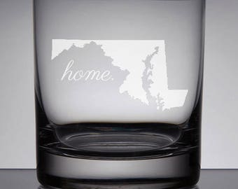 Maryland Rocks Glass, Etched Whiskey Scotch Glass, Home State Gift, Maryland Gift, Deep Etched Glass, Christmas, Wedding Gifts, Housewarming