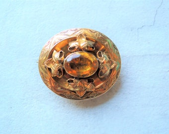 Antique Victorian Etruscan Revival Gold and Citrine Brooch