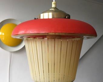 Very Rare 50's Philips Glass Brass Pendant Louis Kalff