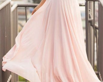 Chiffon Maxi Skirt/Bridesmaid Skirt/Custom Color
