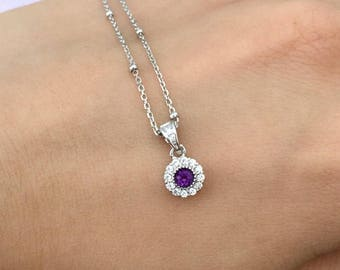Real Amethyst Pendant, Sterling Silver necklace, CZ Setting Pendant, Natural Purple Gemstone, Daily Wear Jewelry, February Birthstone