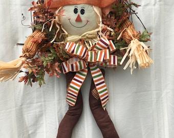 Fall Scarecrow Wreath, Fall Wreath, Autumn Wreath, Autumn Decor, Fall Decor, Front Door Wreath, Scarecrow, Fall Front Door Wreath