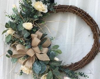 Rustic Front Door Wreath, Front Door Wreath, Everyday Wreath, Fall Wreath, Summer Wreath, Burlap Wreath, Wreath, Home Decor, Fall Decor