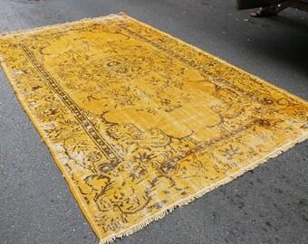 Turkish Vintage Overdyed -6.20 x 10.10 - 166x272 cm, overdyed rug oushak rug