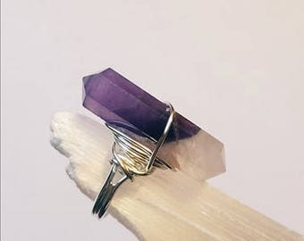 Large Chevron Amethyst Wire Wrapped Crystal Wand Silver Ring Adjustable statement ring