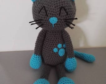 Cat 'Yv' 37 cm tall grey blue turquoise crochet