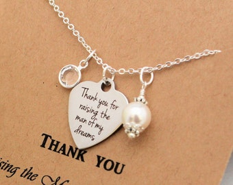 THANK YOU for RAISING the Man of my Dreams Necklace Gift from Bride to be Gift for Mother of the Groom Necklace Pearl Birthstone Necklace