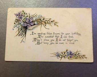 Antique 1900s Floral Postcard, Blue Flowers, Birthday Postcard, Friendship Card, Periwinkle Card, Purple Bouquet, Spring Colors, Botanical
