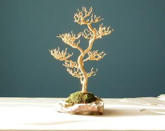 Gold wire bonsai tree on rock, Wire Bonsai, Wire wrapped tree