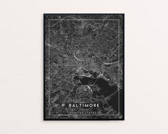 Baltimore Black City Map Print, Clean Contemporary poster fit for Ikea frame 24x34 inch, gift art him her, Anniversary personalized travel