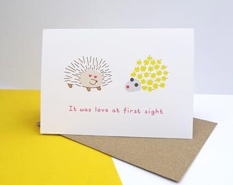 It was love at first sight greeting card - funny, love, pineapple hedgehog, happy anniversary, valentine's day, happy wedding day