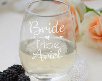 Personalized Bridesmaid Stemless Wine Glasses - Bride Tribe Glasses - Bachelorette Party Wine Glasses - Engraved Bridesmaid Gifts