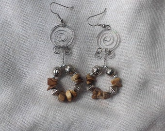Silver Swirl and Brown Bead Earrings