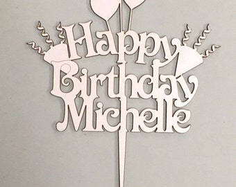 Cake topper - Personalised - Happy birthday with name