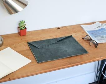 MacBook Case - Leather Sleeve - MacBook Sleeve - Charcoal/Black Leather Case - Leather Laptop Case - MacBook Pro Case - Leather MacBook