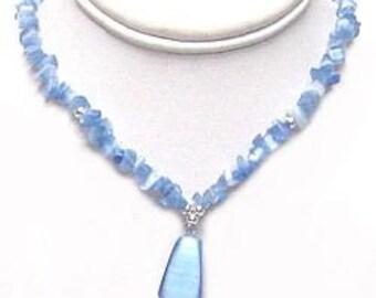 Light Blue Cateye Necklace