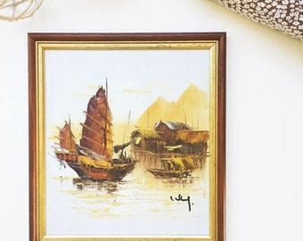 Vintage Chinese Junk Oil painting