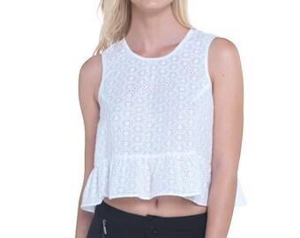 White Cotton Lace Little Top