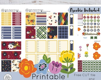 Fall Garden printable planner stickers. Erin Condren and Happy Planner weekly kit. Fall flowers and leaves.