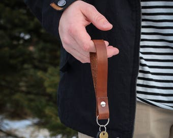 Genuine Leather Key Fob Wristlet