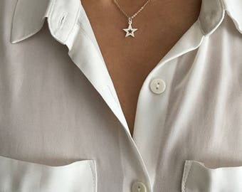 Star charm necklace, delicate necklace, personalised necklace, silver necklace, dainty, pendant, chain necklace,