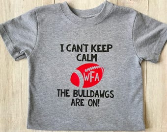 Customizable Toddler Football Shirt, I can't keep calm the Bulldawgs are on