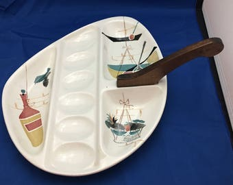 Vintage Patio Hand=Painted Serving Dish Wooden Handle