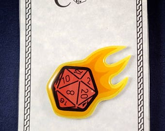 RPG Dice Flaming Dice Pin, Gamer Pin, Gaming Art, 20 sided die, role playing gamer magnet or pin