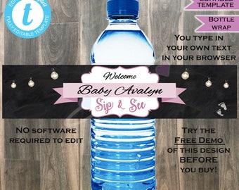 Sip & See Baby Shower Water Bottle Candle Wrap- Baby Sprinkle- Purple Baby Girl- Chalkboard- Custom Printable INSTANT Self-EDITABLE