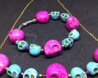 Skull Bracelet and Necklace Set