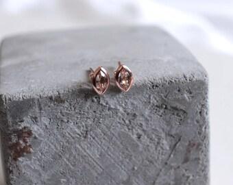 14k rose gold morganite earrings // rose gold earrings // jewelry // morganite studs // morganite earrings // gift for her // christmas gift